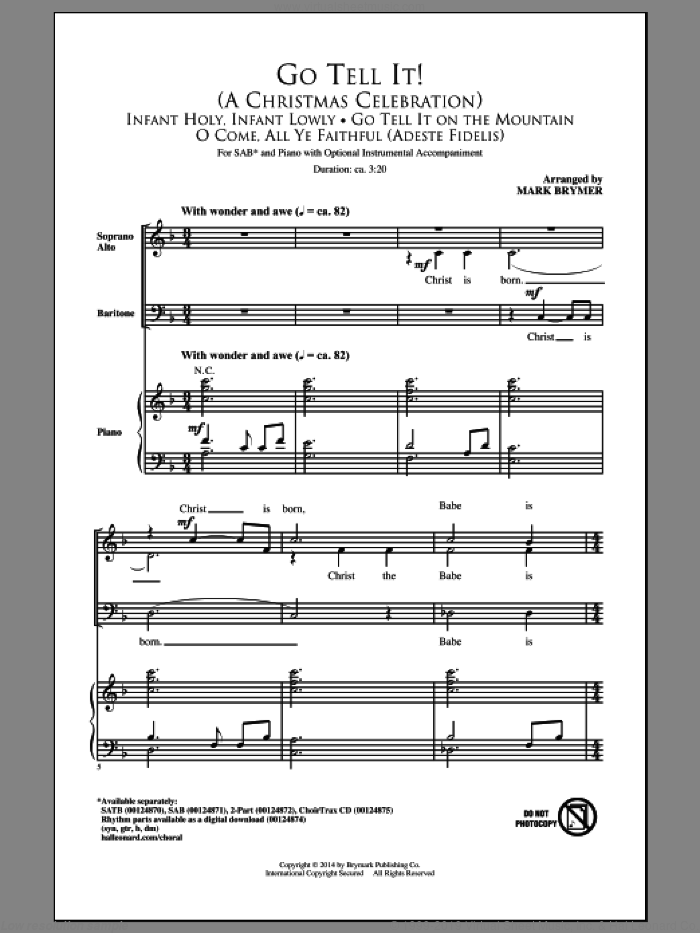 Go Tell It On The Mountain sheet music for choir (SAB) by Mark Brymer and Miscellaneous, Christmas carol score, intermediate choir (SAB). Score Image Preview.