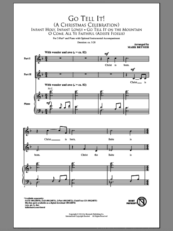 Go Tell It On The Mountain sheet music for choir (2-Part) by Mark Brymer and Miscellaneous, intermediate duet