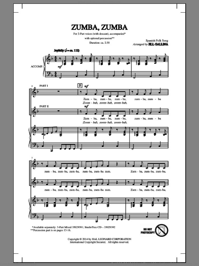 Zumba, Zumba sheet music for choir (duets) by Spanish Folk Song and Jill Gallina. Score Image Preview.