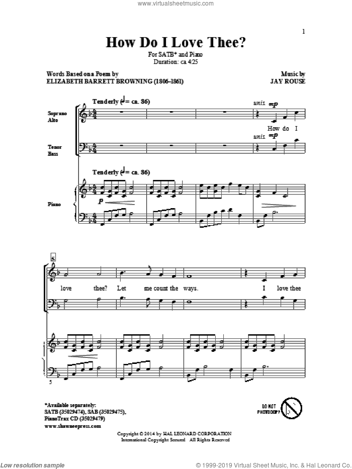 How Do I Love Thee? sheet music for choir (SATB: soprano, alto, tenor, bass) by Jay Rouse and Elizabeth Barrett Browning, intermediate skill level