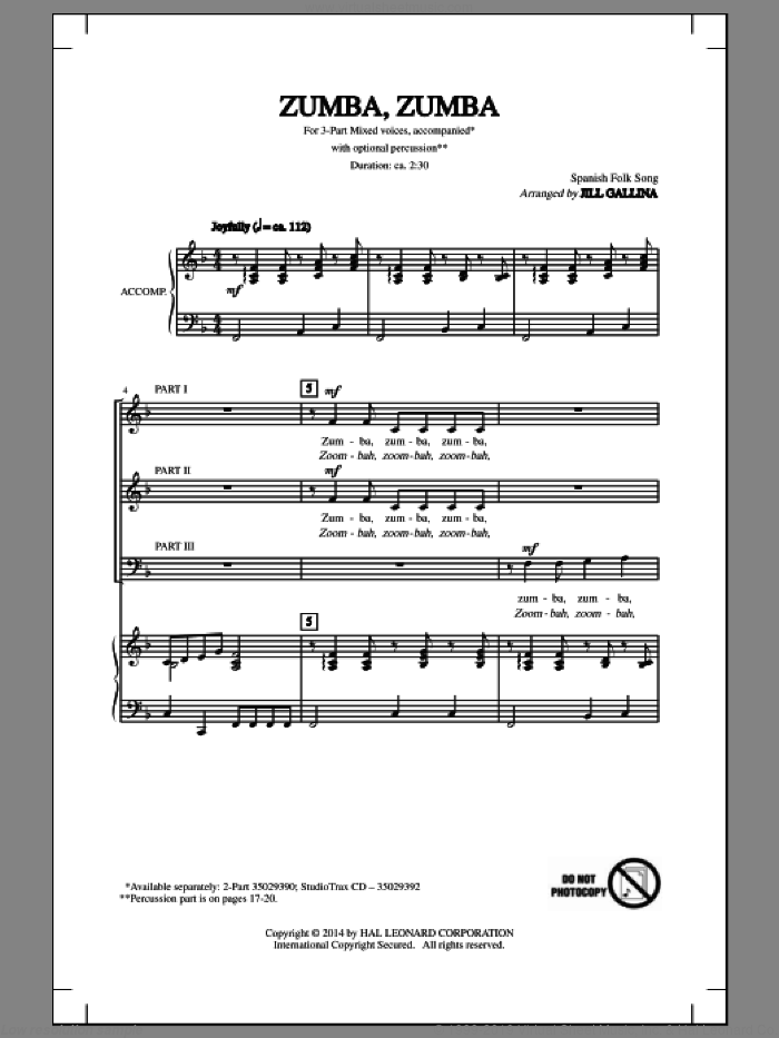 Zumba, Zumba sheet music for choir (chamber ensemble) by Jill Gallina, intermediate. Score Image Preview.