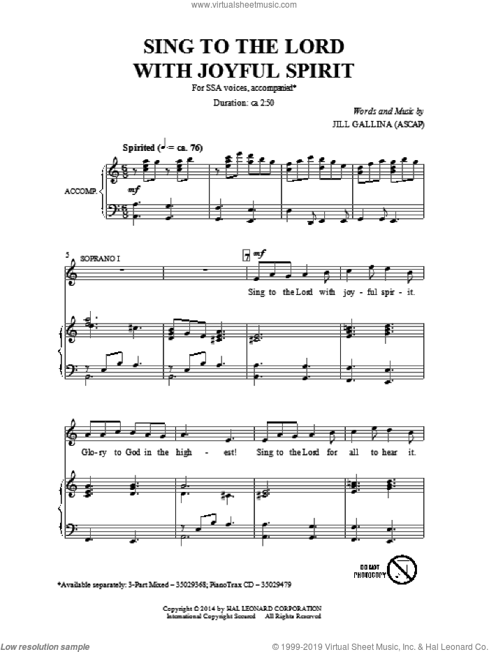 Sing To The Lord With Joyful Spirit sheet music for choir (SSA: soprano, alto) by Jill Gallina, intermediate