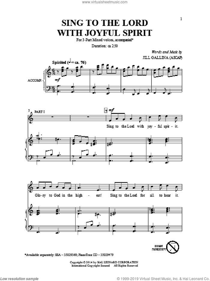 Sing To The Lord With Joyful Spirit sheet music for choir (3-Part Mixed) by Jill Gallina, intermediate. Score Image Preview.