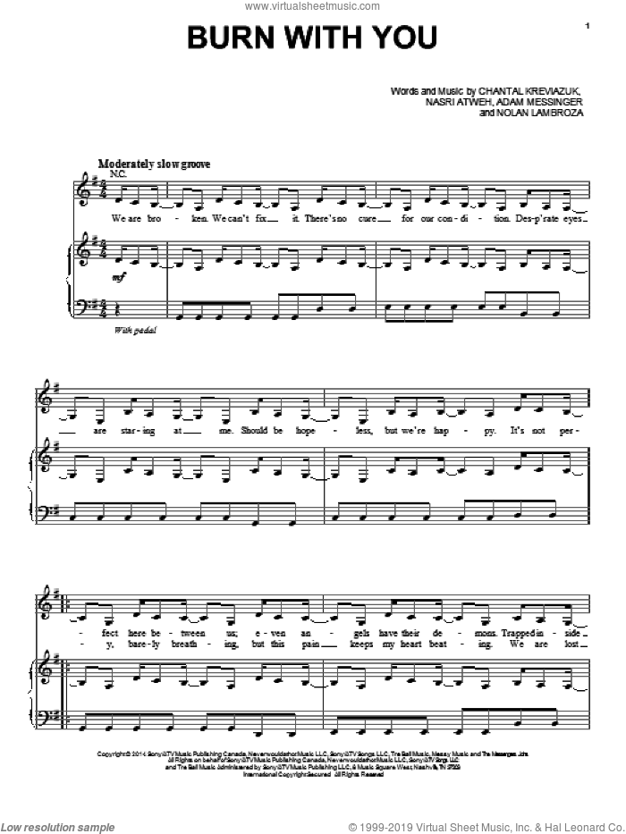Burn With You sheet music for voice, piano or guitar by Lea Michele, Adam Messinger, Chantal Kreviazuk, Nasri Atweh and Nolan Lambroza, intermediate. Score Image Preview.