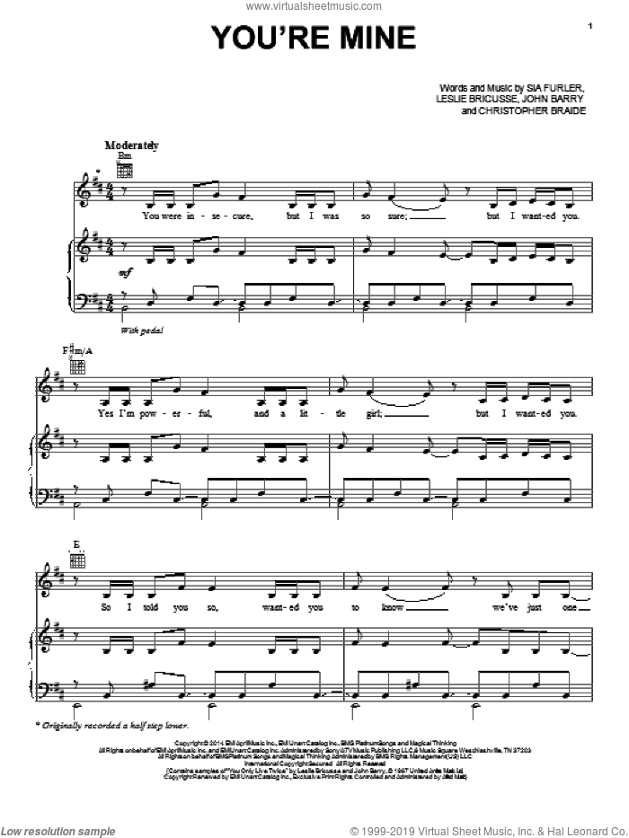 You're Mine sheet music for voice, piano or guitar by Lea Michele, Chris Braide, John Barry, Leslie Bricusse and Sia Furler, intermediate skill level
