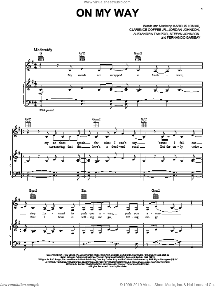 On My Way sheet music for voice, piano or guitar by Lea Michele, Alexandra Tamposi, Clarence Coffee Jr., Fernando Garibay, Jordan Johnson, Marcus Lomax and Stefan Johnson, intermediate skill level