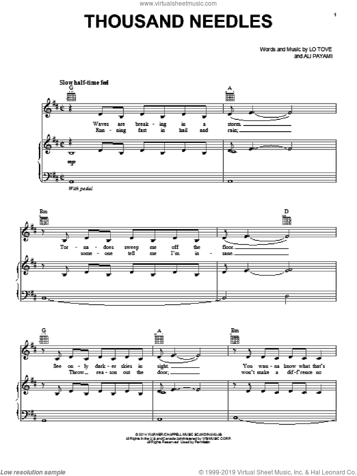 Thousand Needles sheet music for voice, piano or guitar by Lea Michele, Ali Payami and Lo Tove, intermediate skill level