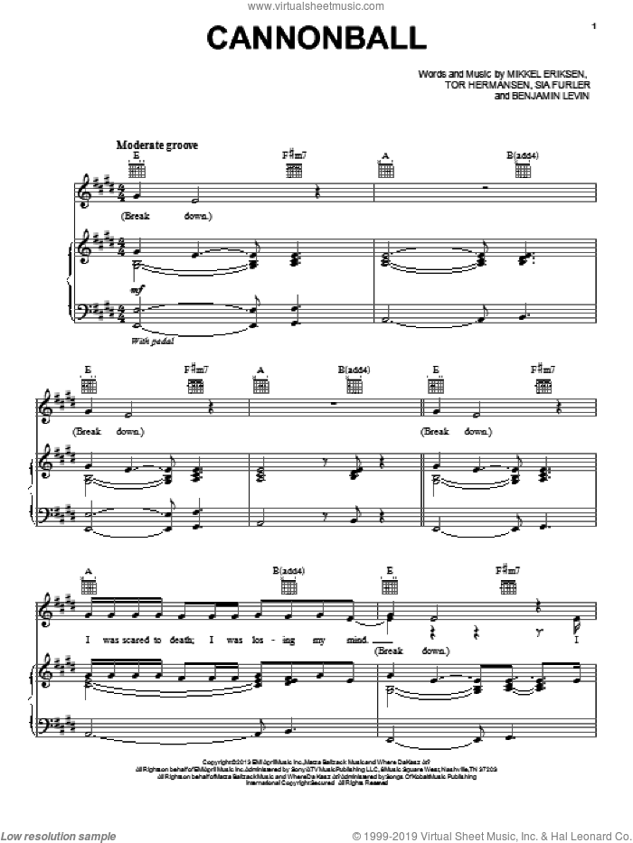 Cannonball sheet music for voice, piano or guitar by Lea Michele, Benjamin Levin, Mikkel Eriksen and Tor Erik Hermansen, intermediate voice, piano or guitar. Score Image Preview.