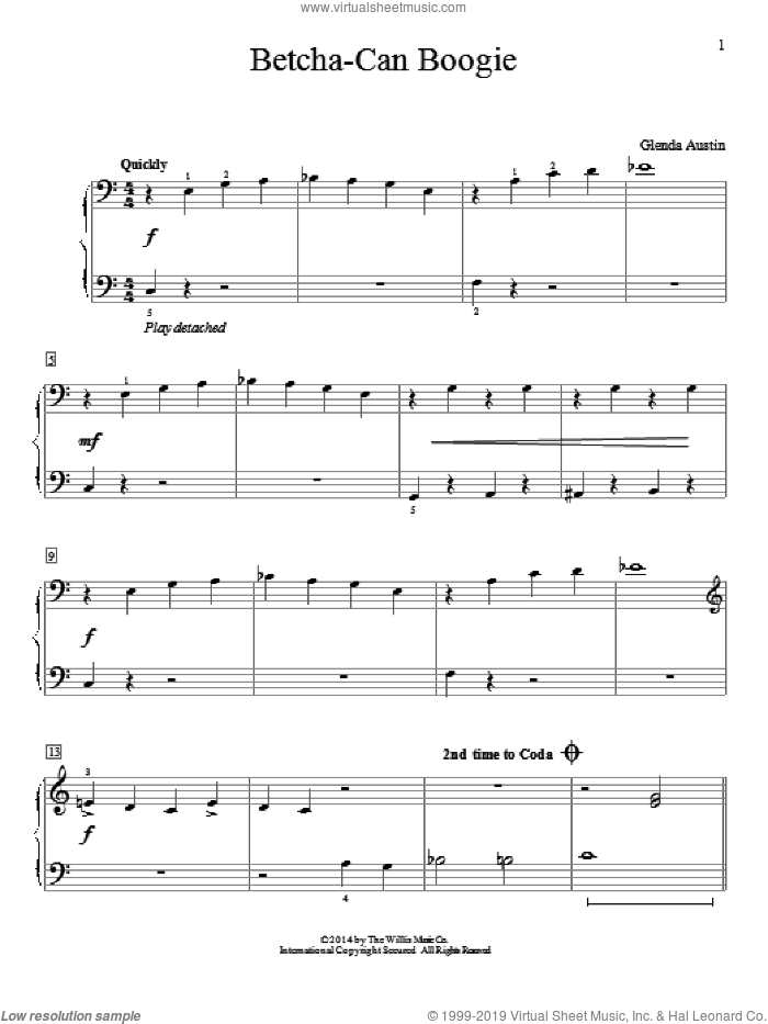 Betcha-Can Boogie sheet music for piano solo (elementary) by Glenda Austin. Score Image Preview.