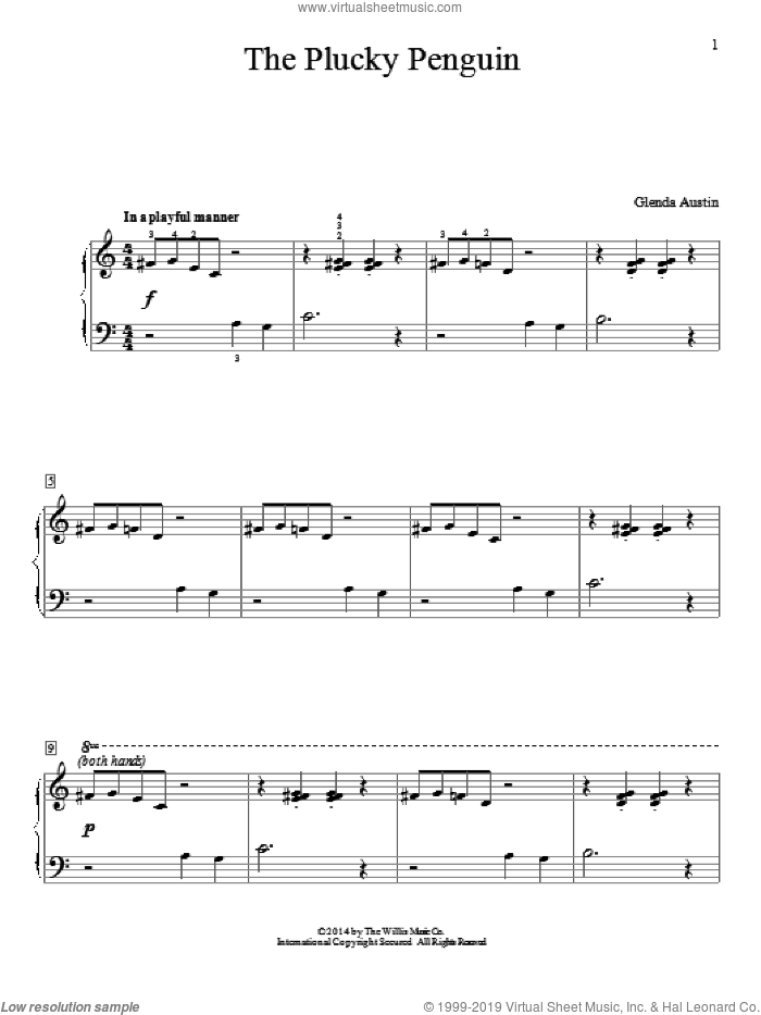 The Plucky Penguin sheet music for piano solo (elementary) by Glenda Austin, beginner piano (elementary). Score Image Preview.