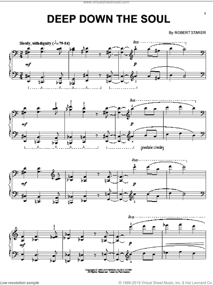 Deep Down The Soul sheet music for piano solo by Robert Starer, intermediate piano. Score Image Preview.