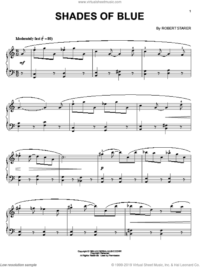 Shades Of Blue sheet music for piano solo by Robert Starer, intermediate. Score Image Preview.