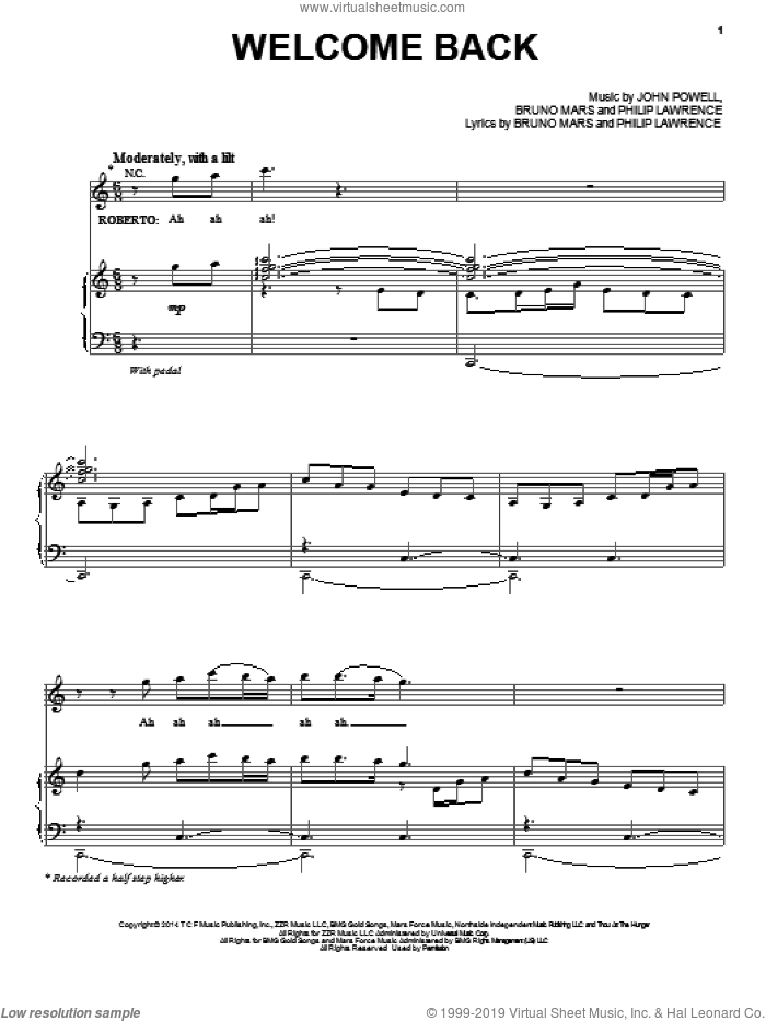 Welcome Back sheet music for voice, piano or guitar by Philip Lawrence, Bruno Mars and John Powell. Score Image Preview.