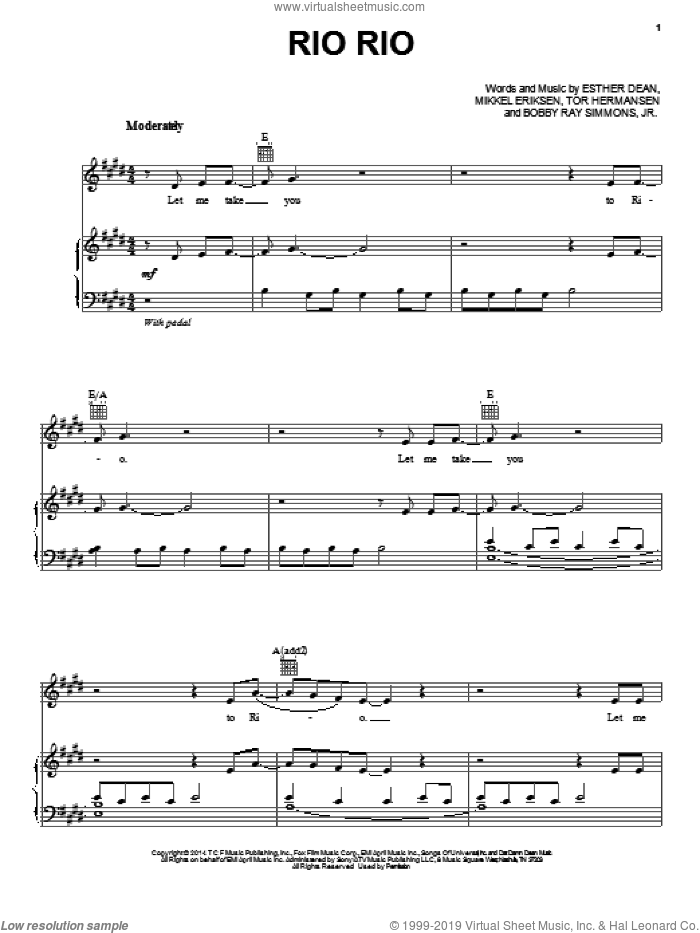Rio Rio sheet music for voice, piano or guitar by Ester Dean featuring B.o.B., John Powell, Bobby Ray Simmons, Jr., Ester Dean, Mikkel Eriksen and Tor Erik Hermansen, intermediate skill level