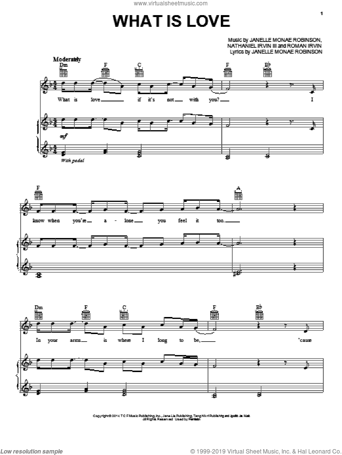 What Is Love sheet music for voice, piano or guitar by Janelle Monae and John Powell, intermediate voice, piano or guitar. Score Image Preview.