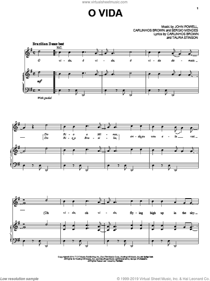 O Vida sheet music for voice, piano or guitar by Carlinhos Brown and Nina de Freitas, Carlinhos Brown, John Powell, Sergio Mendes and Taura Stinson, intermediate skill level