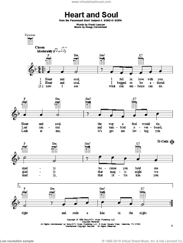 Heart And Soul sheet music for ukulele by Hoagy Carmichael