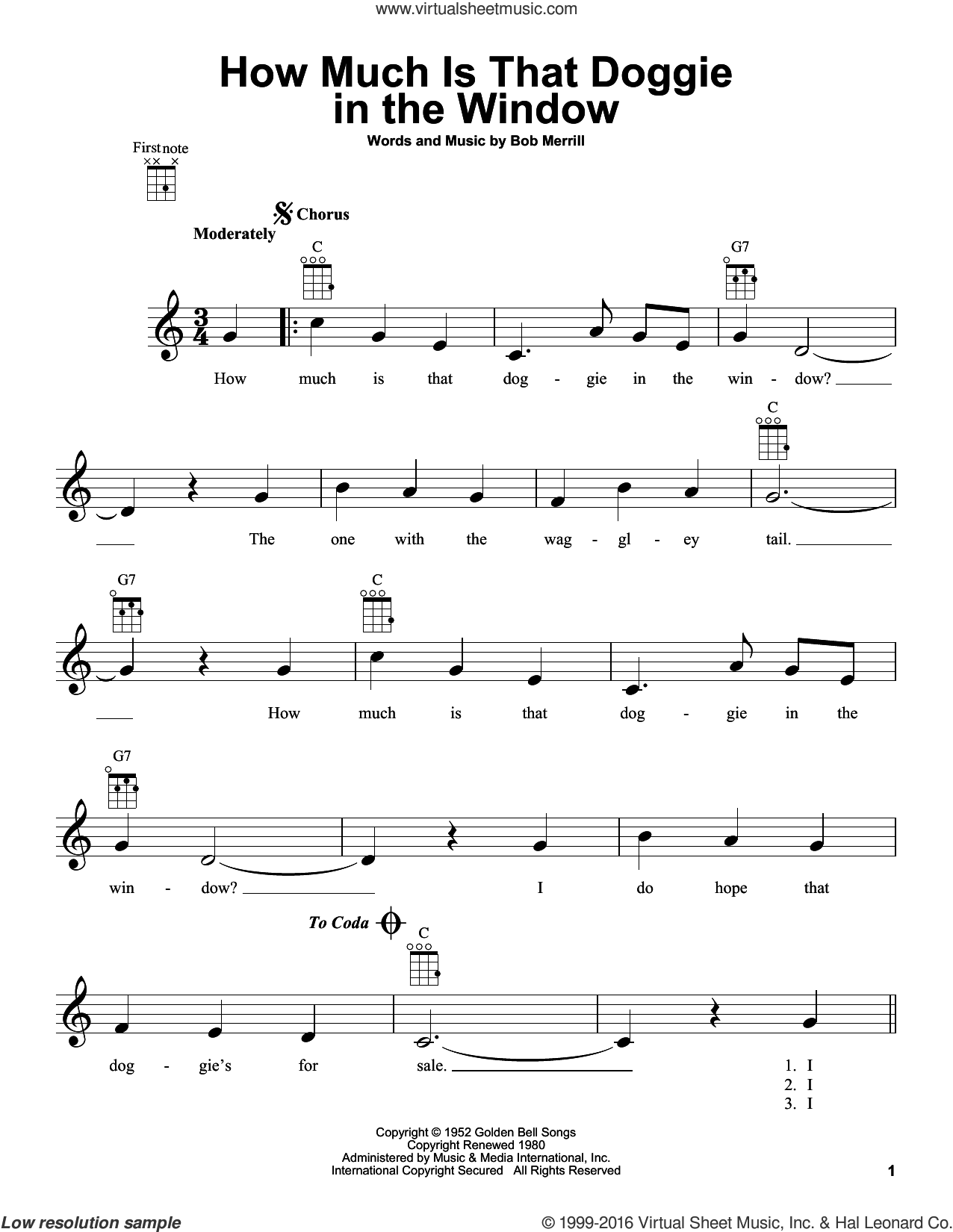 How Much Is That Doggie In The Window sheet music for ukulele by Baby Jane & The Rockabyes and Bob Merrill, intermediate skill level