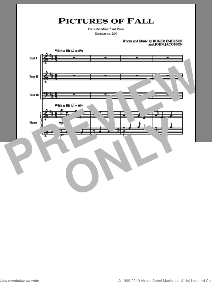 Pictures Of Fall sheet music for choir (chamber ensemble) by John Jacobson and Roger Emerson. Score Image Preview.