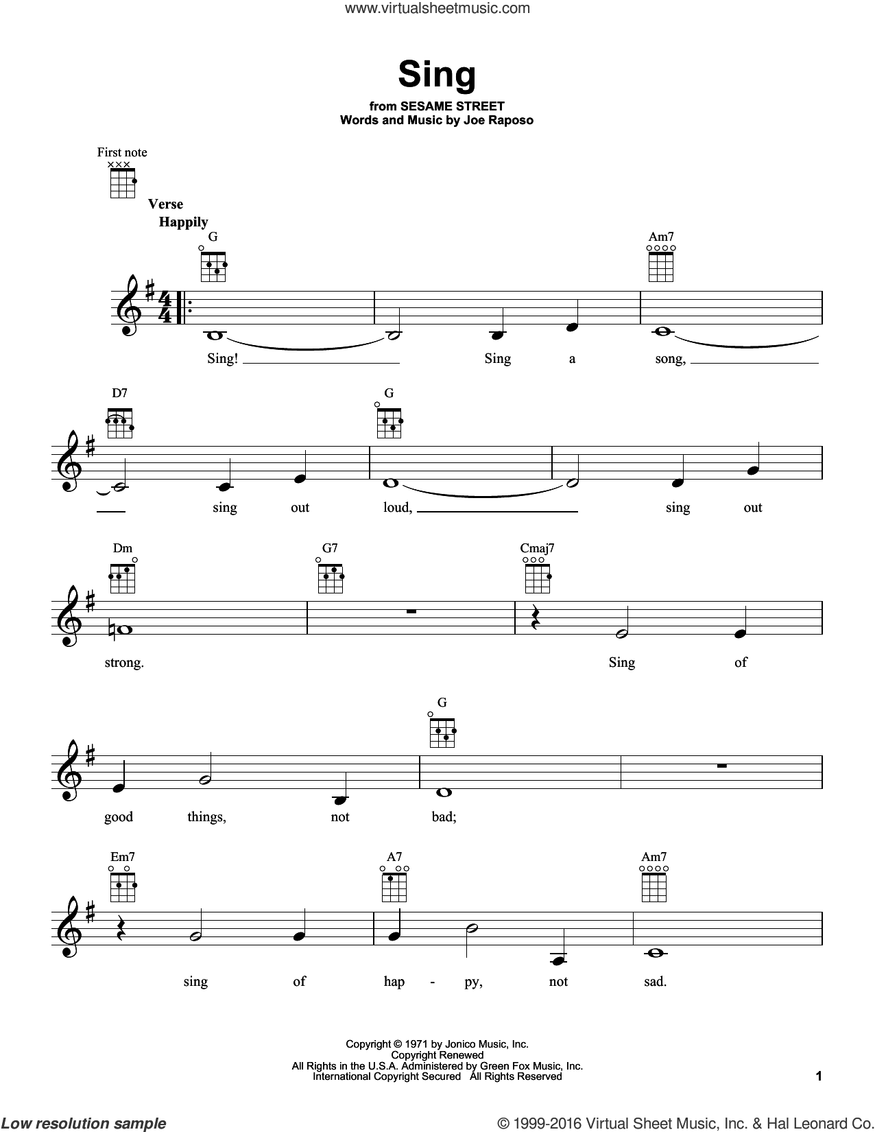 Sing sheet music for ukulele by Carpenters and Joe Raposo, intermediate skill level