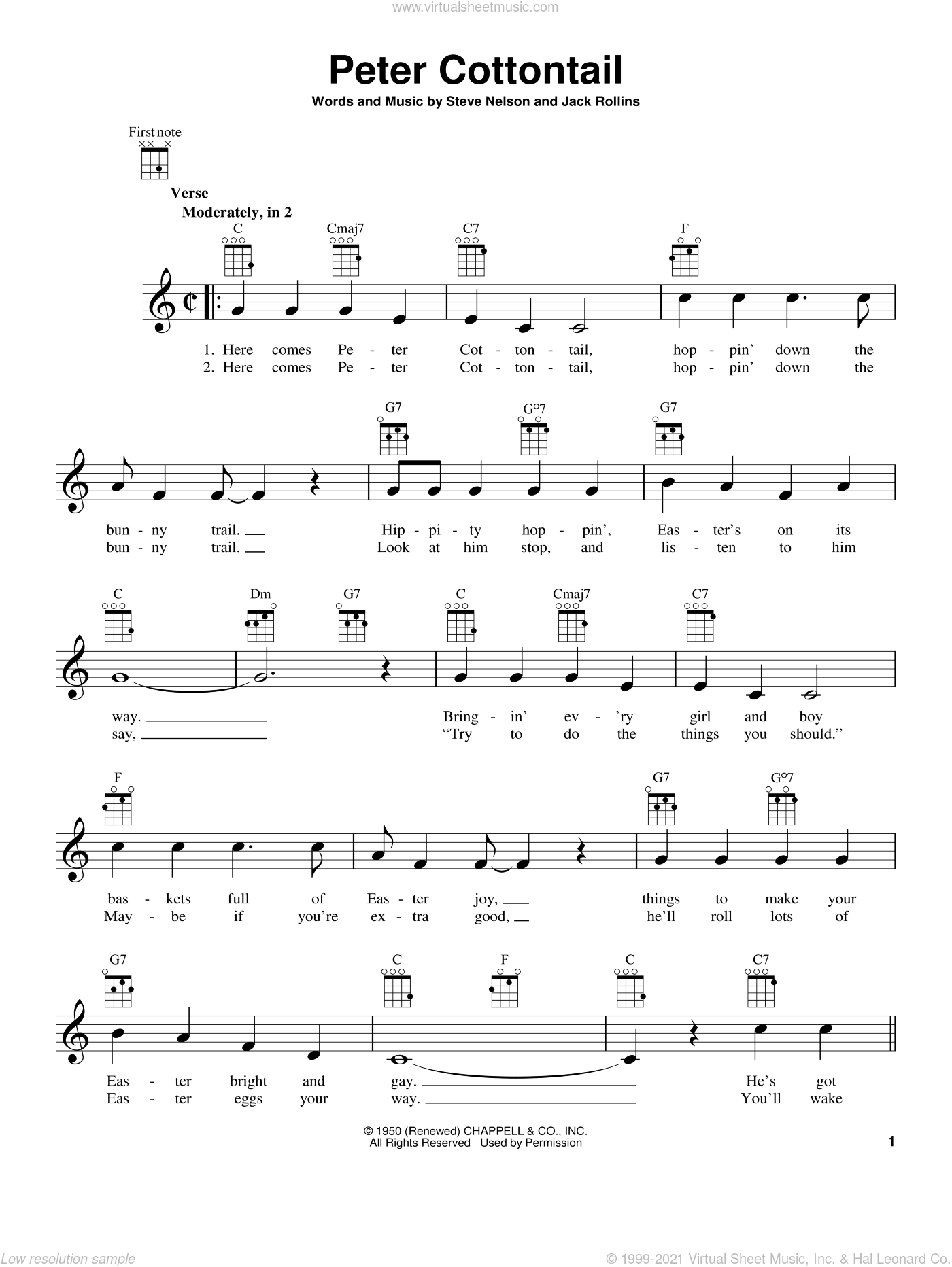 Peter Cottontail sheet music for ukulele by Steve Nelson and Jack Rollins, intermediate skill level