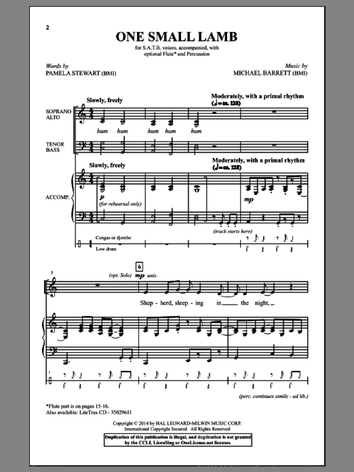One Small Lamb sheet music for choir and piano (SATB) by Michael Barrett