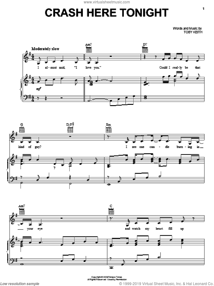 Crash Here Tonight sheet music for voice, piano or guitar by Toby Keith. Score Image Preview.