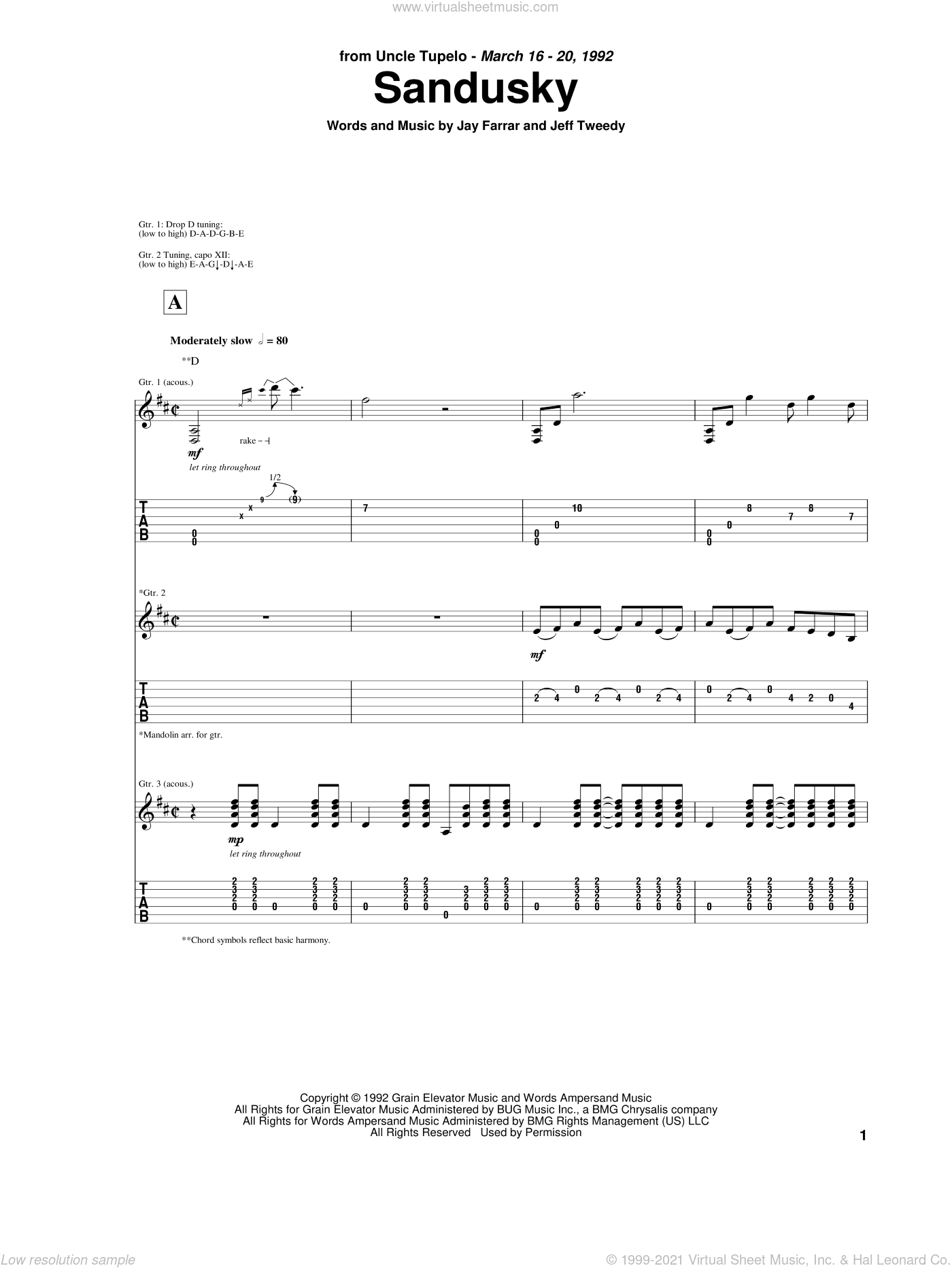 Sandusky sheet music for guitar (tablature) by Uncle Tupelo, Jay Farrar and Jeff Tweedy, intermediate. Score Image Preview.