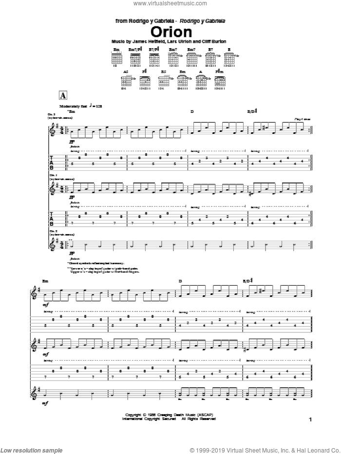 Orion sheet music for guitar (tablature) by Rodrigo y Gabriela, Cliff Burton, James Hetfield, Lars Ulrich and Metallica, intermediate skill level