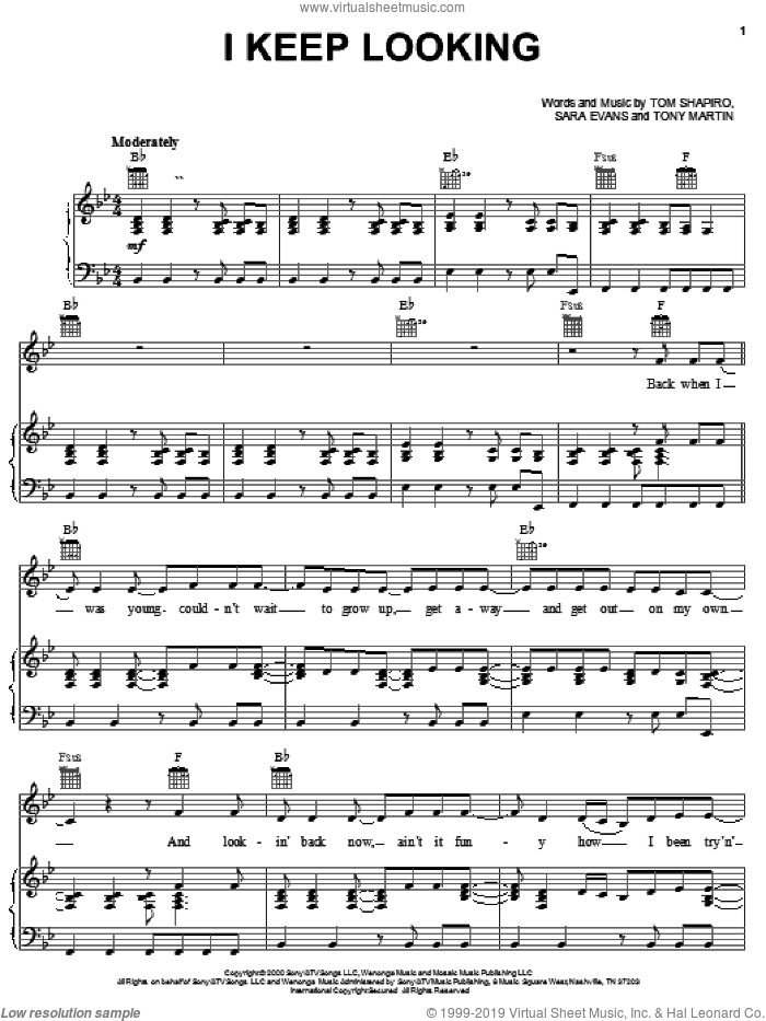 I Keep Looking sheet music for voice, piano or guitar by Tony Martin, Sara Evans and Tom Shapiro. Score Image Preview.