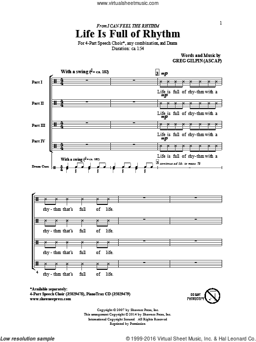 Life Is Full Of Rhythm sheet music for choir and piano (4-Part) by Greg Gilpin. Score Image Preview.