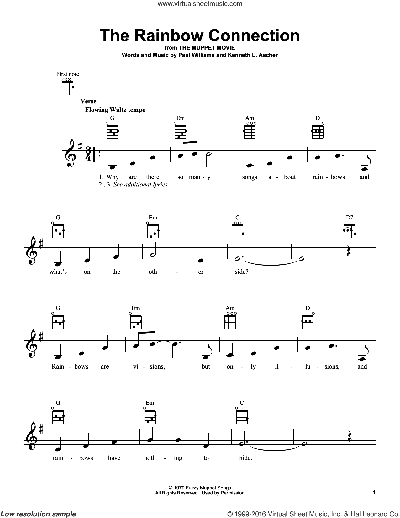 The Rainbow Connection sheet music for ukulele by Paul Williams. Score Image Preview.