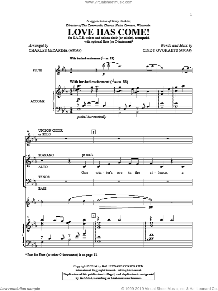 Love Has Come! sheet music for choir (SATB: soprano, alto, tenor, bass) by Charles McCartha and Cindy Ovokaitys, intermediate. Score Image Preview.