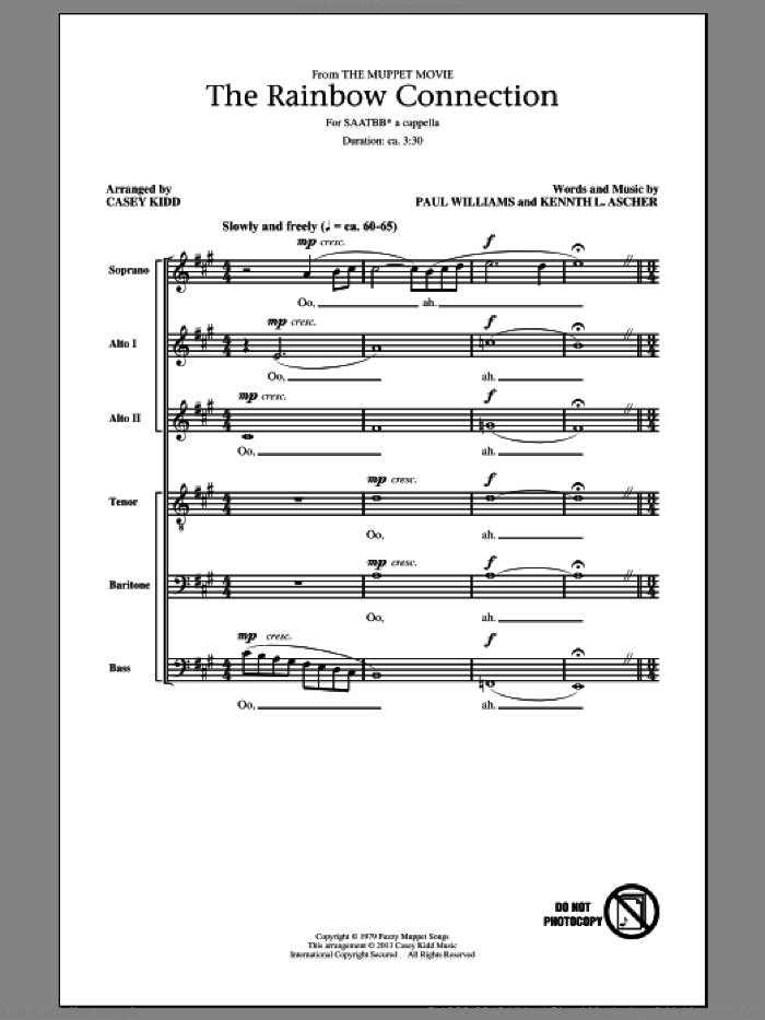 The Rainbow Connection sheet music for choir (SATB: soprano, alto, tenor, bass) by Paul Williams, Casey Kidd, Ken Ascher, Kenneth L. Ascher, Kermit The Frog and The Muppets, intermediate