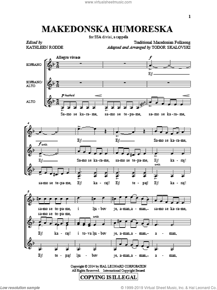 Makedonska Humoreska sheet music for choir and piano (SSA) by Denko Skalovski. Score Image Preview.