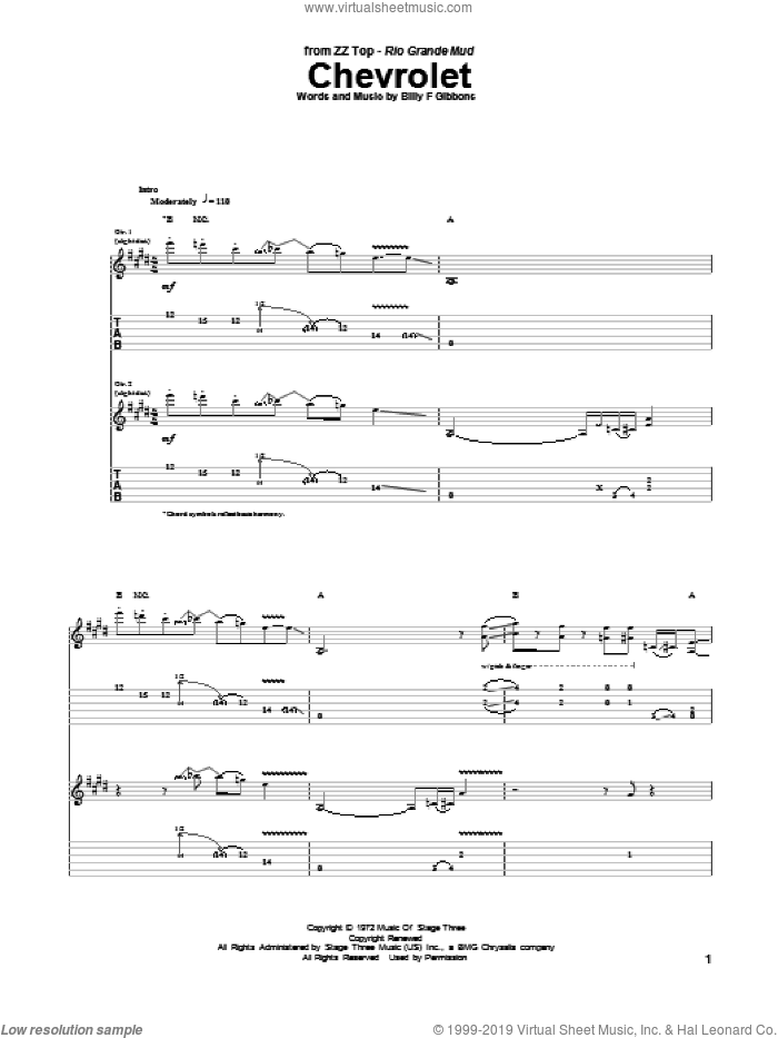 Chevrolet sheet music for guitar (tablature) by ZZ Top, intermediate. Score Image Preview.
