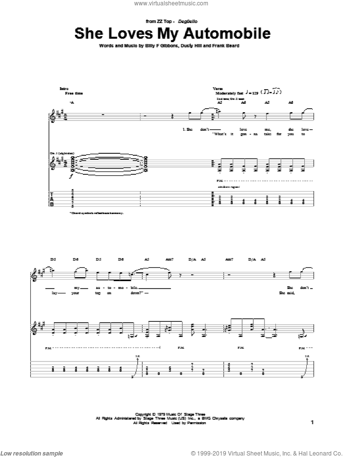 She Loves My Automobile sheet music for guitar (tablature) by ZZ Top. Score Image Preview.