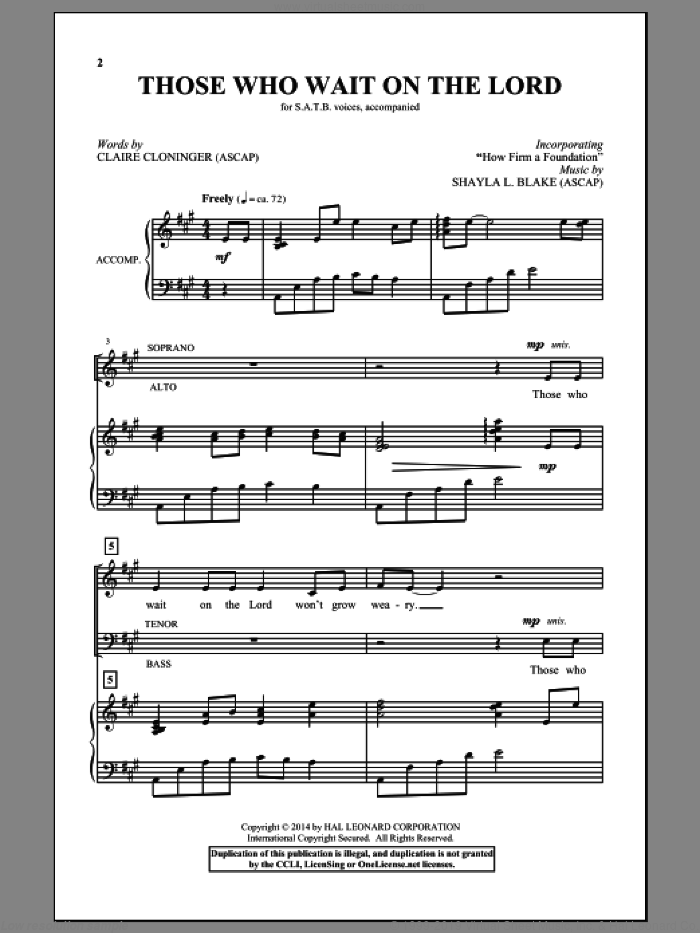Those Who Wait On The Lord sheet music for choir (SATB) by Claire Cloninger. Score Image Preview.