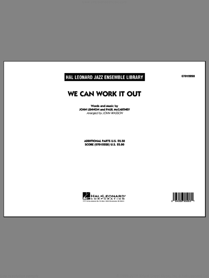 We Can Work It Out (COMPLETE) sheet music for jazz band by The Beatles, John Lennon, John Wasson and Paul McCartney, intermediate skill level