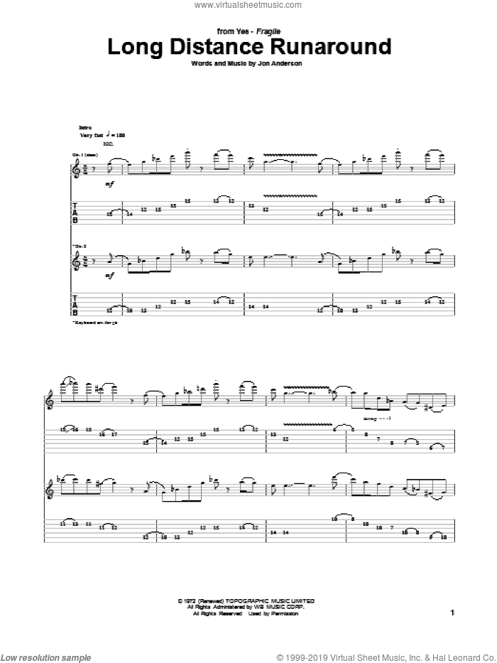 Long Distance Runaround sheet music for guitar (tablature) by Yes and Jon Anderson, intermediate skill level