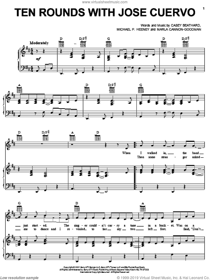 Ten Rounds With Jose Cuervo sheet music for voice, piano or guitar by Michael Heeney, Tracy Byrd, Casey Beathard and Marla Cannon-Goodman. Score Image Preview.
