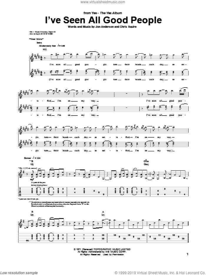 I've Seen All Good People sheet music for guitar (tablature) by Yes, Chris Squire and Jon Anderson, intermediate skill level