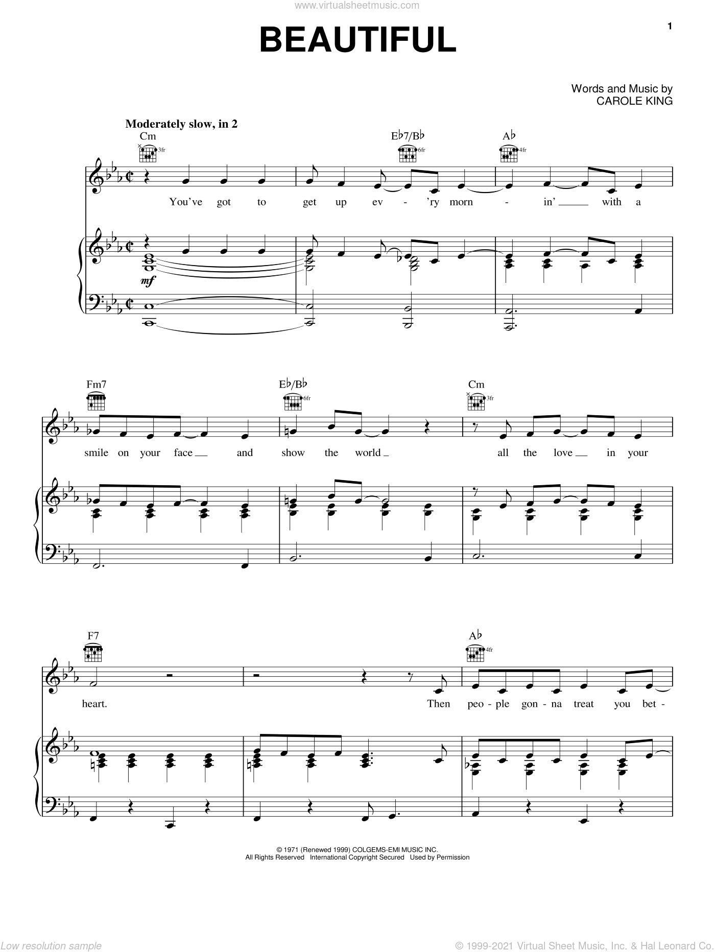 Beautiful sheet music for voice, piano or guitar by Carole King, intermediate skill level