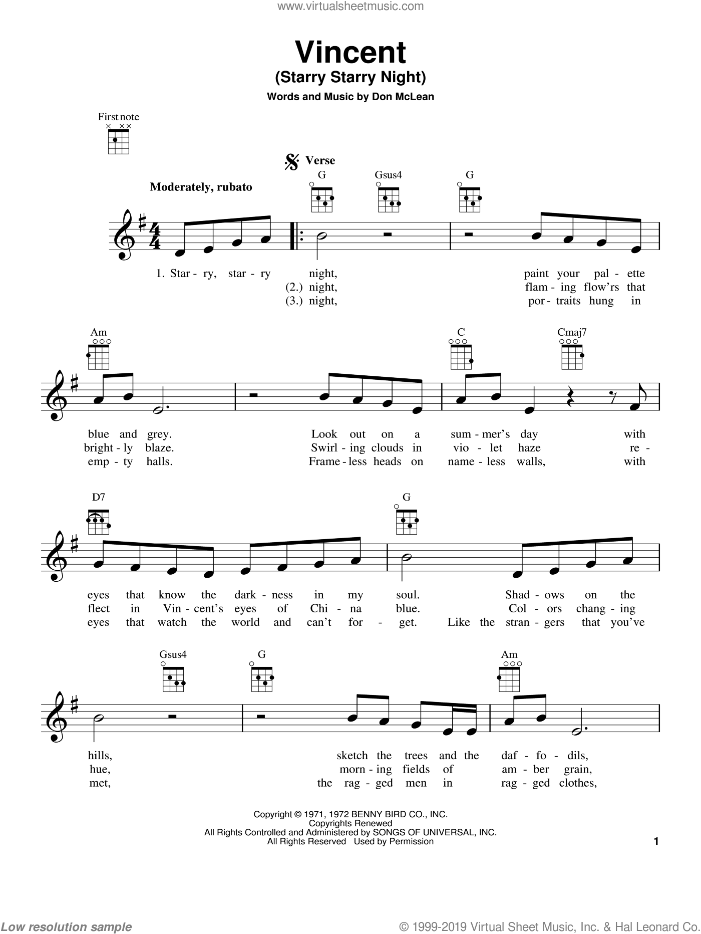 Vincent (Starry Starry Night) sheet music for ukulele by Don McLean, intermediate skill level