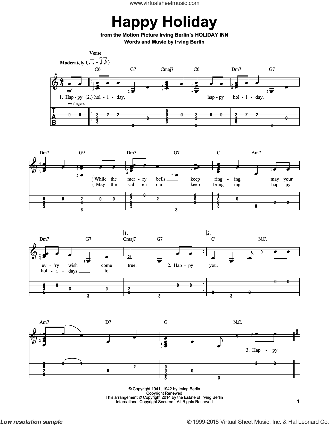 Happy Holiday sheet music for guitar solo (easy tablature) by Irving Berlin, easy guitar (easy tablature)