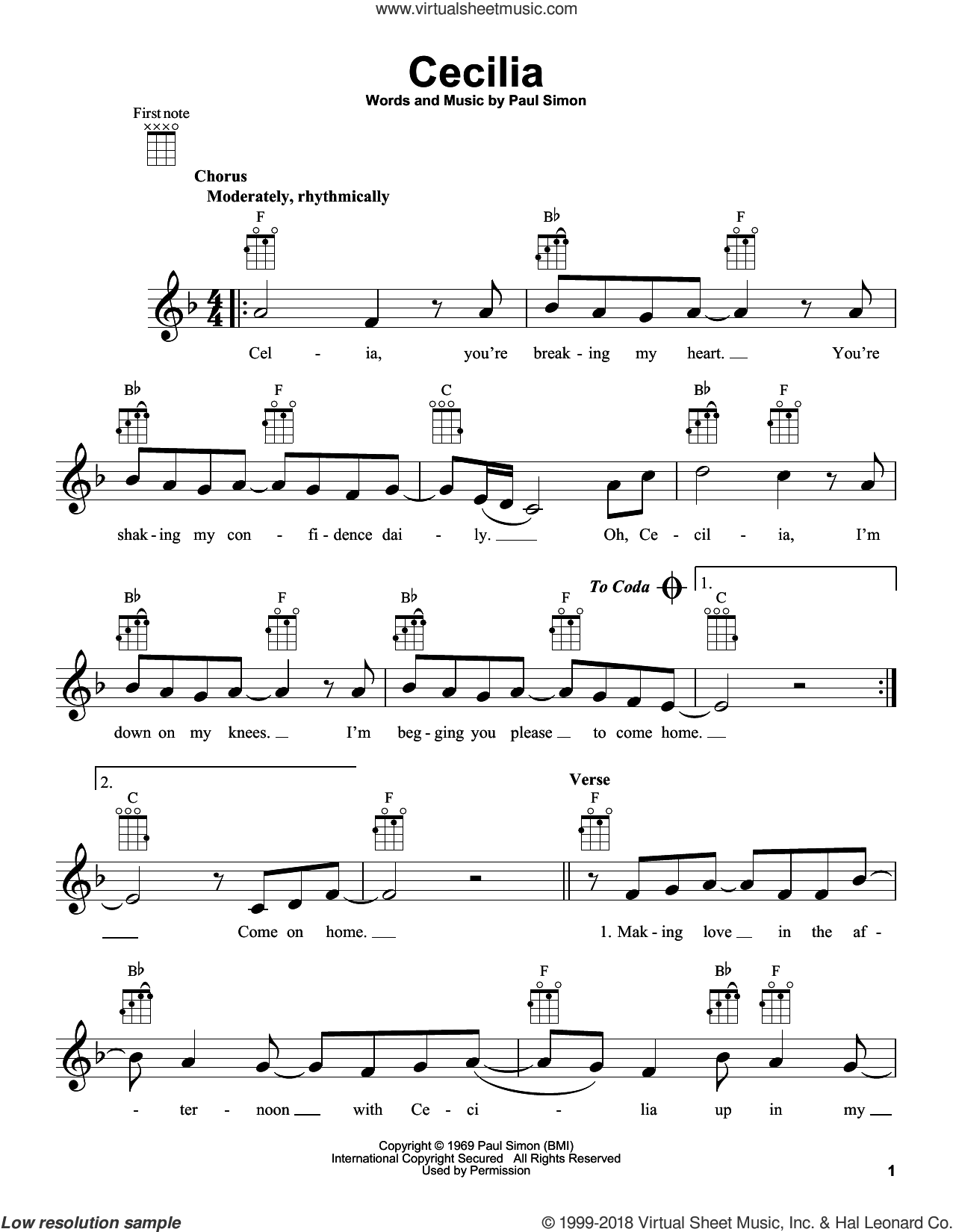 Cecilia sheet music for ukulele by Paul Simon and Simon & Garfunkel. Score Image Preview.