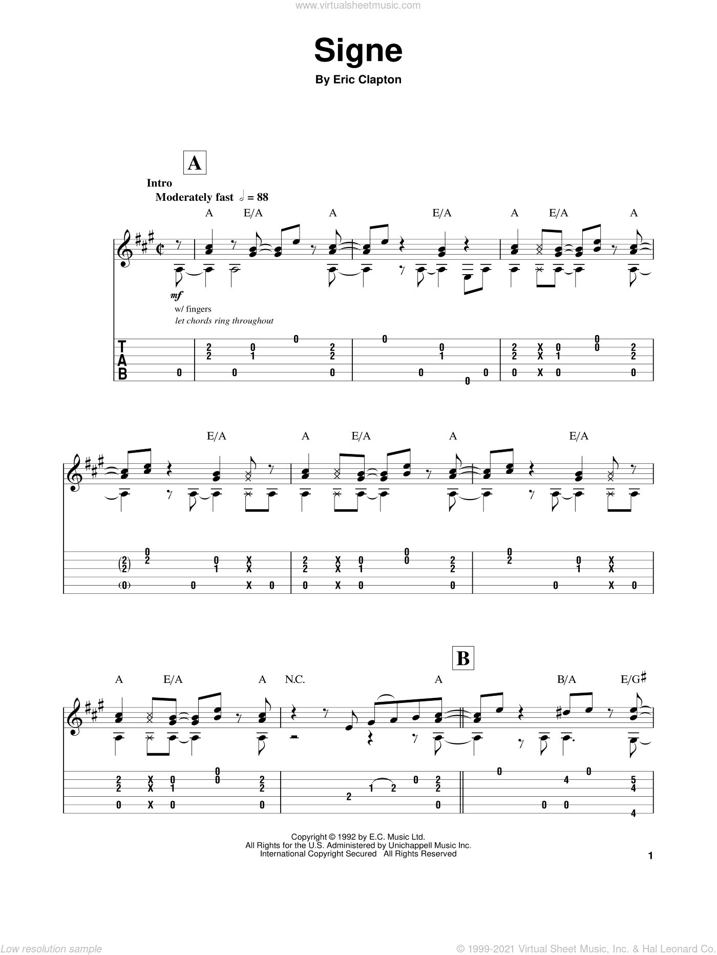 Signe sheet music for guitar (tablature, play-along) by Eric Clapton, intermediate. Score Image Preview.