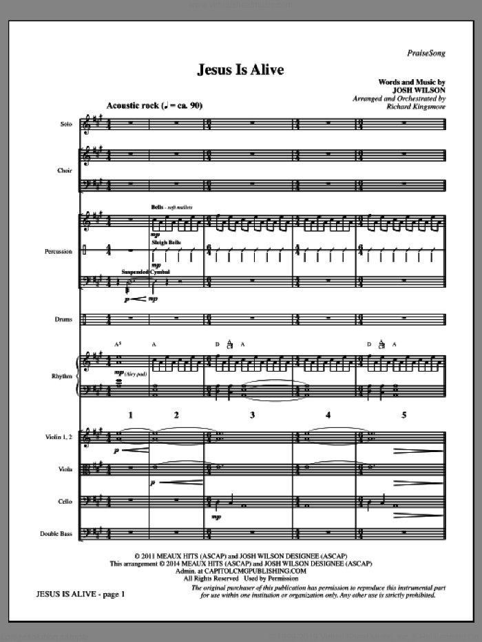 Jesus Is Alive sheet music for orchestra/band (full score) by Richard Kingsmore. Score Image Preview.