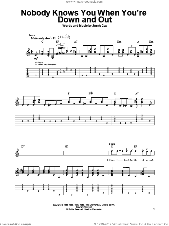 Nobody Knows You When You're Down And Out sheet music for guitar (tablature, play-along) by Eric Clapton and Jimmie Cox, intermediate guitar (tablature, play-along). Score Image Preview.