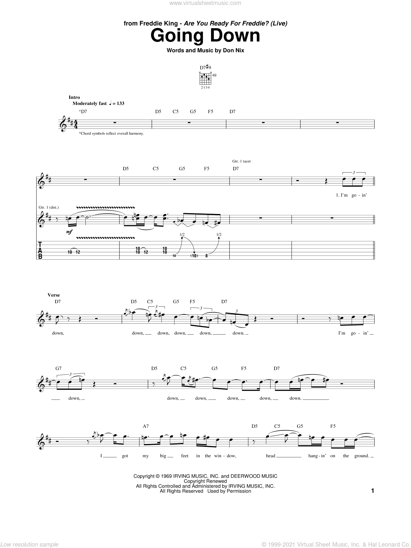 Going Down sheet music for guitar (tablature) by Freddie King and Don Nix. Score Image Preview.